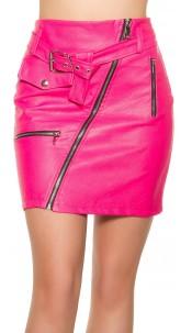 Sexy KouCla leatherlook mini skirt zips&belt Fuchsia
