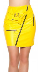 Sexy KouCla leatherlook mini skirt zips&belt Yellow