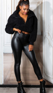 Sexy faux leder thermo leggings zwart