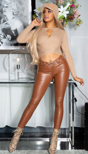 Sexy must have basic leather-look pants brown