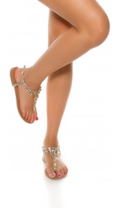 Trendy toe sandals with XL rhinestones Gold