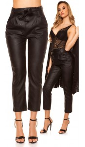 Sexy high waist leatherlook pants with loop Black