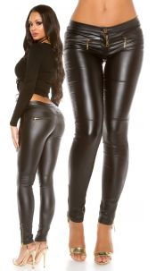 Sexy leather look pants with zips Black