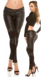 Sexy Koucla pants with leatherlook & zips Black