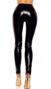 Sexy lederlook broek met ritsen zwart