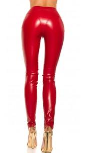 Sexy lederlook broek met ritsen rood