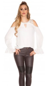 Sexy Coldshoulder-Blouse w. valance White
