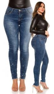 CurvyGirlsSize! Sexy jeans rhinestones & studs Jeansblue