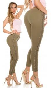 Sexy skinny jeans met kant en veter khaki