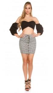 Sexy mini skirt with lacing Blackwhite