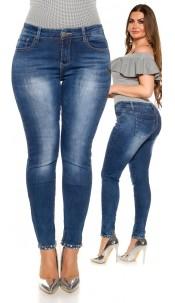 CUrvyGirlsSize! Sexy Jeans rhinestones & beads Jeansblue