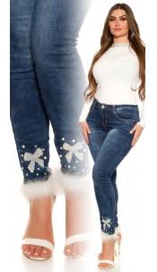 CurvyGirlsSize! Sexy Jeans rhinestones & bow Jeansblue