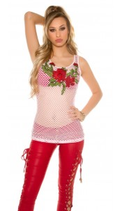 Sexy mesh tanktop with floral embroidery Pink