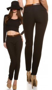 Trendy cloth pants with crease & belt Black