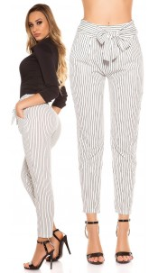 Trendy Loose Fit business trousers with loop White