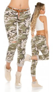 Trendy camouflage pants with cracks & belt Army