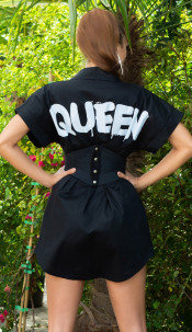 Sexy must have Queen shirt dress Black