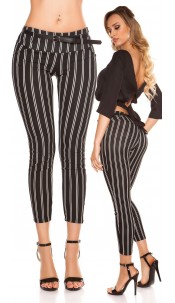 Trendy KouCla striped trousers with belt Black
