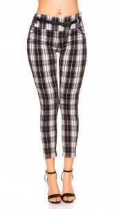 Trendy checked treggings with belt Black