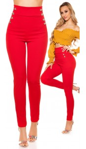 Sexy highwaist Pants with buttons Red