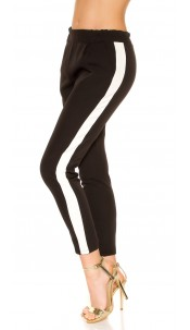 Trendy Workout pants with contrasting stripes Black