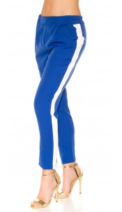 Trendy Workout pants with contrasting stripes Blue