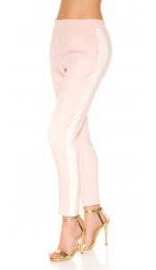 Trendy Workout pants with contrasting stripes Pink