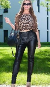 Curvy Girls Size! Sexy leatherlook pants Black