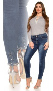 CurvyGirlsSize! Sexy jeans with rhinestones Jeansblue