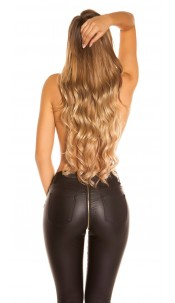 Sexy skinny leatherlook pants with zip at the back Black
