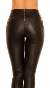 Sexy thermo tregging leather look zip at the back Black