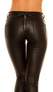 Sexy skinny leatherlook pants with zip & bow Black