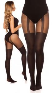 Sexy tights in suspenders look Black
