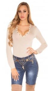 Sexy studded fineknit-sweater Beige