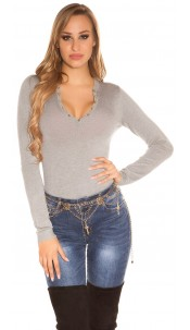 Sexy studded fineknit-sweater Grey