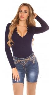 Sexy studded fineknit-sweater Navy