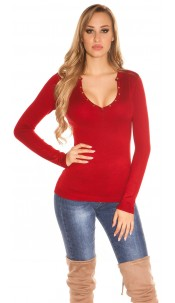Sexy studded fineknit-sweater Red