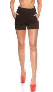 Sexy KouCla High Waist Shorts with pockets Black