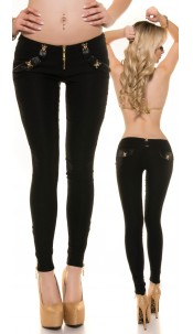 Trendy Koucla pants with zips and skull Black