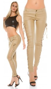 Leder-Look Trousers met veters Beige