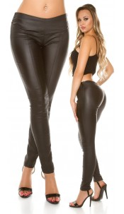 Sexy KouCla leather look trousers with decor seams Black