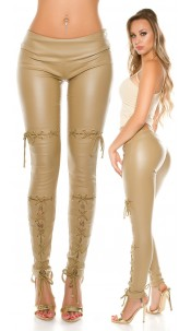 Sexy KouCla leatherlook trousers with lacing Beige