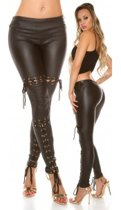 Sexy KouCla leatherlook trousers with lacing Black