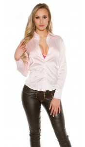 Sexy KouCla Satinlook Blouse Pink