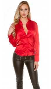 Sexy KouCla Satinlook Blouse Red