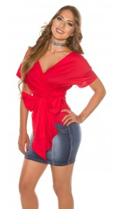 Sexy KouCla short sleeve wrap blouse Red