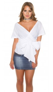 Sexy KouCla short sleeve wrap blouse White