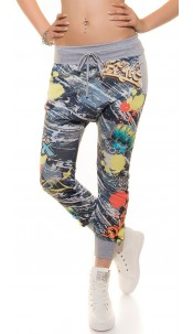 Trendy Haremjoggers in Jeans & Graffiti look Grey