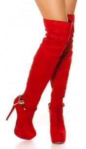 Sexy suede look overknees with skull buckle Red