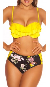 Sexy Pushup-Bikini w.flowerprint+Highwaist pants Yellow